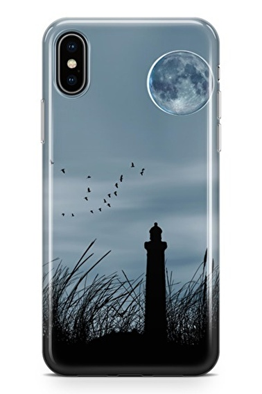 Lopard iPhone Xs Max Kılıf Silikon Arka Kapak Koruyucu Deniz Feneri Desenli Full HD Baskılı Renkli